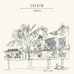 Cochin (Kochi), Kerala, South India. Old house. Heritage historical colonial building. Vector hand drawn travel postcard