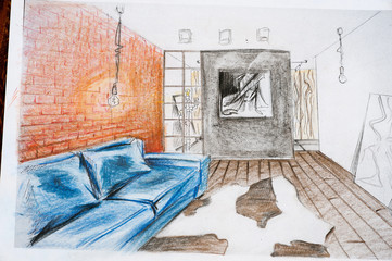 The interior design is drawn with a pencil, a sketch drawing.
