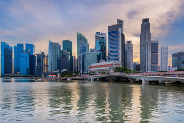 Singapore downtown and business center at Marina Bay