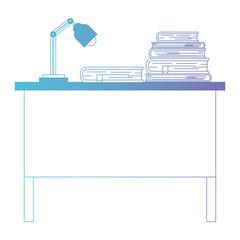 teacher desk with books and lamp vector illustration design