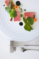 Exquisite salmon dish, creative restaurant meal concept, haute couture food