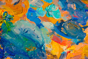 Oil paints, brush strokes, close-up. creation.