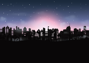 Silhouette of beautiful night cityscape abstract background.Nature landscape scene concept flat design.Vector illustration.