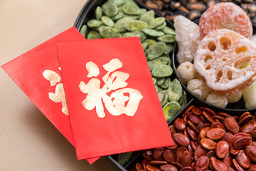Assorted chinese snack tray with red packet word mean luck for lunar new year