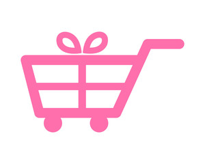 pink gift trolley cart carry carriage image vector icon logo