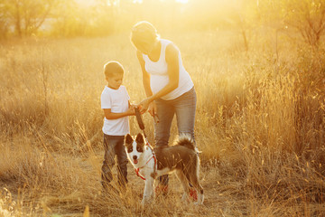 Family. Mother, son and dog