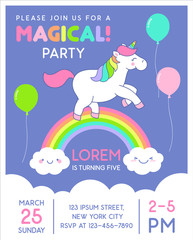 Cute unicorn jumping over the rainbow illustration for birthday party card template