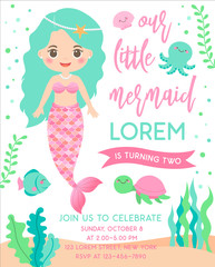 Cute mermaid and marine life illustration for greeting card design