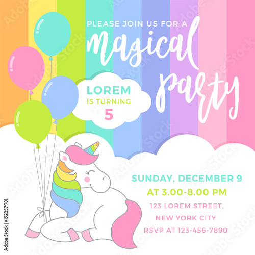 Cute Unicorn With Balloons Illustration For Party Invitation Card