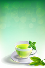 glass cup leaves green tea  on  adstrack background.