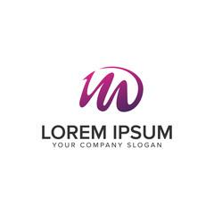 Letter M purple creative logo design concept template