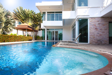 Interior and exterior design of pool villa with swimming pool