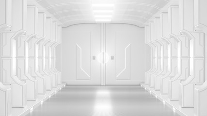 science lap, sci-fi corridor white color