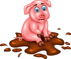 cute pig cartoon sitting on mud with laughing