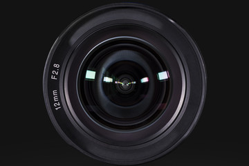 Camera photo lens with dark background