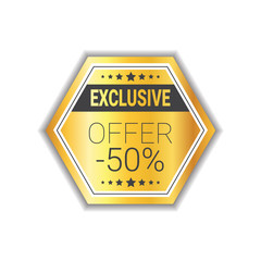 Exclusive Offer Label Shopping Sale Discount Golden Seal Isolated Vector Illustration