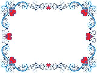 Red and blue floral Valentine frame