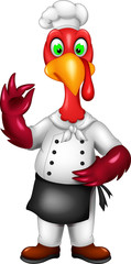 cute turkey cartoon standing with smile and thumb up