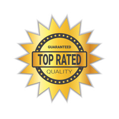 Top Rated Sticker Golden Badge High Quality Sign Isolated Vector Illustration