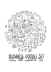Business doodle illustration circle form on a4 paper wallpaper line sketch style eps10