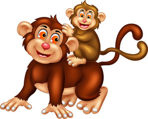 funny monkey cartoon posing with smile