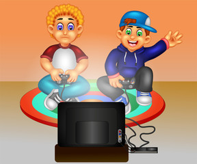 handsome boy cartoon playing games on pc with smile and waving