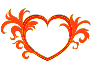 Valentine picture with heart and leaves