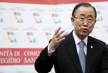United Nations Secretary-General Ban Ki-moon speaks during his visit at the Saint Egidio Catholic in Rome