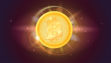 Bitcoin, golden coin. The symbol of the crypto currency on horizontal space background with stars. Virtual digital money with light rays, glare and flare of beams.