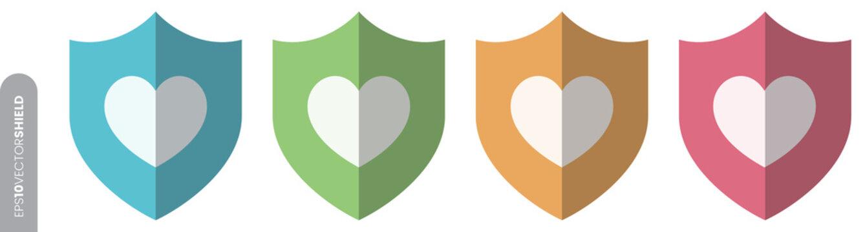 Shield Icon Set - Heart