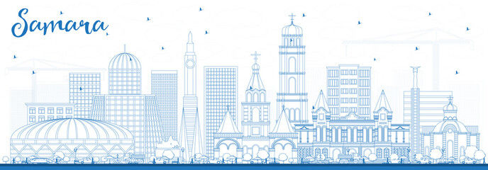 Outline Samara Russia City Skyline with Blue Buildings.
