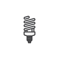 Fluorescent lamp filled outline icon, line vector sign, linear colorful pictogram isolated on white. Powersave light bulb symbol, logo illustration. Pixel perfect vector graphics