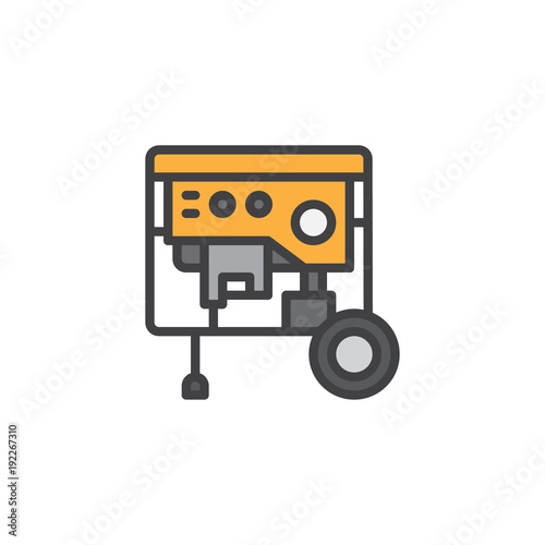 Portable power generator filled outline icon, line vector sign ...