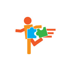 Puzzle Run Logo Icon Design