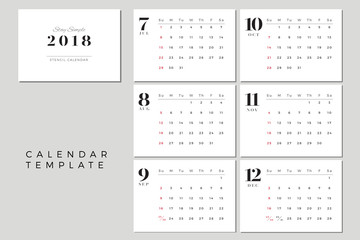 2018 Vector Calendar Template July to December, 2018 Simple Planner, New Year Schedule Calendar, Minimal Stationery, Yearly Calendar