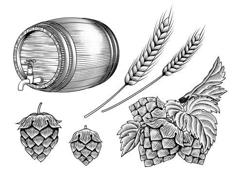 Beer ingredients set