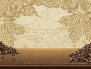 Retro coffee plants background