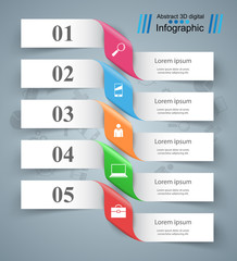 3D infographic design template and marketing icons.