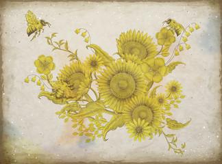 Retro elegant floral design