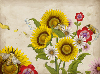 Honey bees and wildflowers