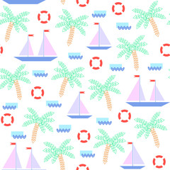 Seamless geometric pattern with palm trees, ships, ocean waves and other elements in abstract mosaic style.