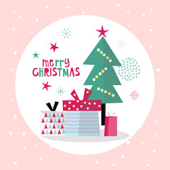 Vector Flat Holiday Illustration, Pastel Christmas Poster, Holiday Celebration Background, Greeting Card, Vector illustration, Minimal Flat Design Background