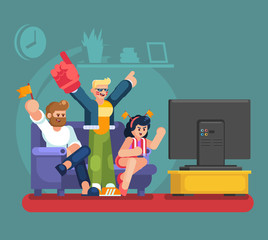 Soccer fans and friends watching tv on couch. Football match supporting people flat vector illustration. Football fan watch game match on tv