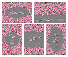 Templates for greeting cards and invitations with cherry flowers.