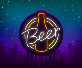 Original vintage retro design of a neon-style logo for a beer house, bar pub, brewery brewery, tavern stuffing pub restaurant. Night beer advertising, neon glowing bright sign. Billboard
