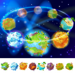 Cartoon Earth Planets Collection