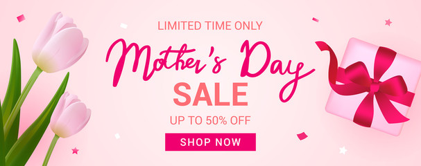 Mother's Day Sale Banner vector illustration, Beautiful Tulips with gift box.