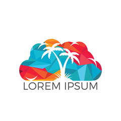 Cloud and Palm Tree Logo Design.