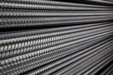 Close up steel bar , Steel reinforcement bar texture in construction site