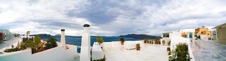 Panorama of Oia town. Oia Santorini Island